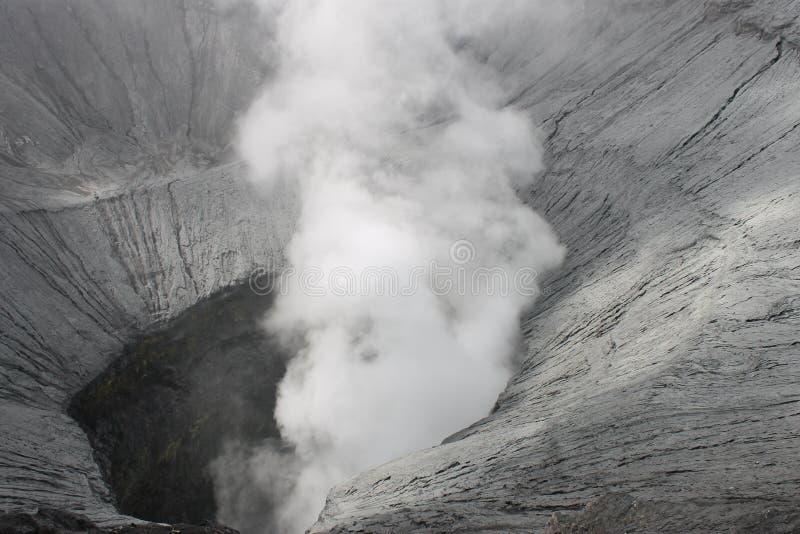 Den monteringsBromo krater ses från ovanför turist- dragningar som kan tas fram av besökare arkivbild