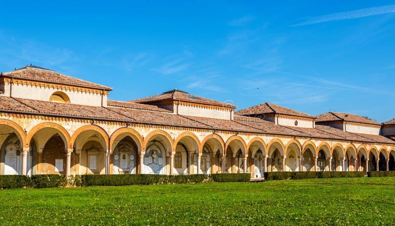 Den monumentala kyrkogården av Certosa - Ferrara arkivbilder