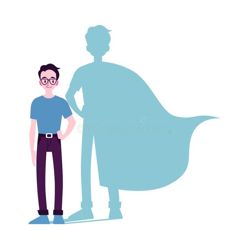 Den motiverade mansymbolen med illustrationen för vektorn för superheroskugga den plana isolerade vektor illustrationer