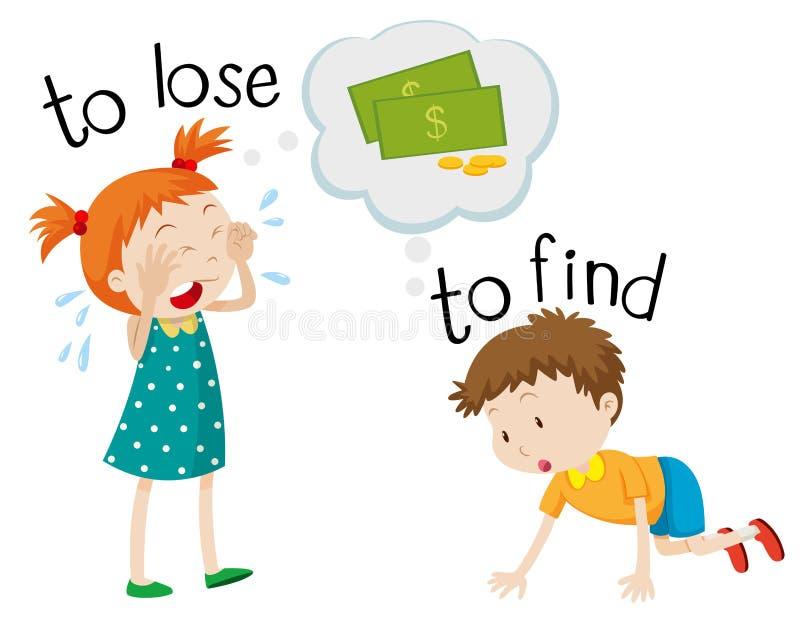 Den motsatta wordcarden för förlorar och finner vektor illustrationer