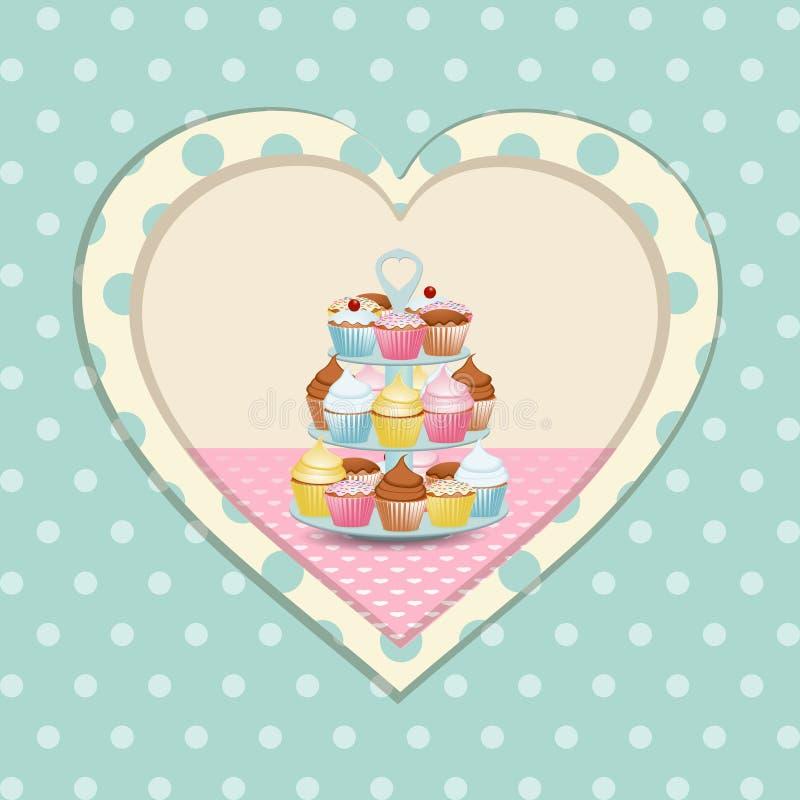 Den muffinstativ och polkaen pricker hjärta royaltyfri illustrationer