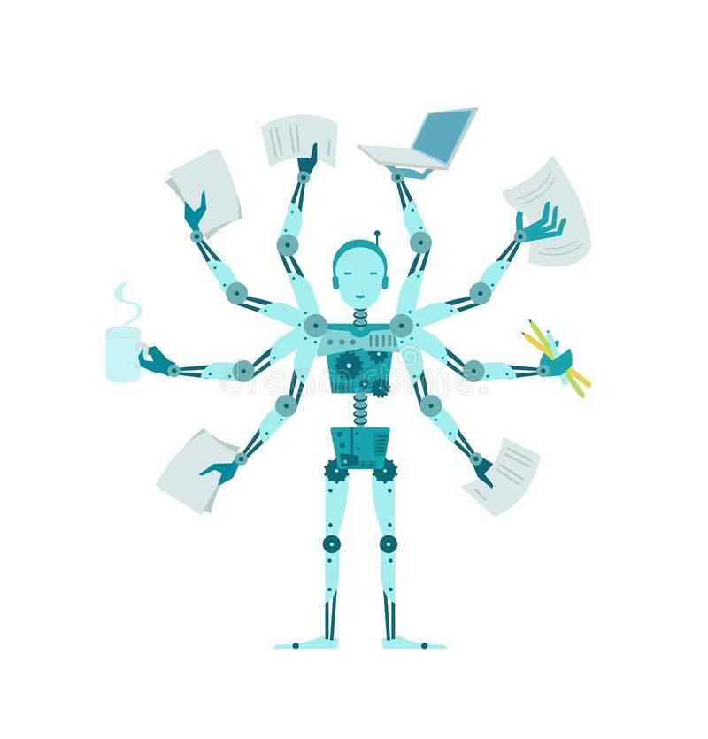 Den multilimbed roboten Multifunctional cyborgchef för kontor stock illustrationer