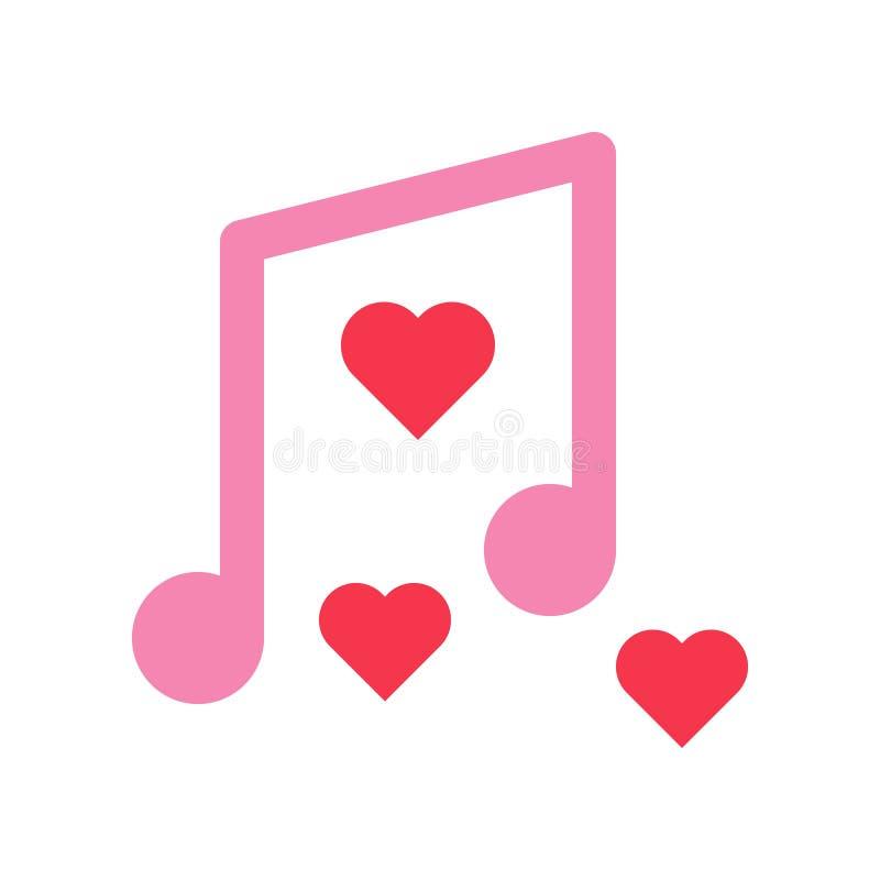 Den musikanmärkningsvektorn, valentin och förälskelse gällde den plana symbolen vektor illustrationer