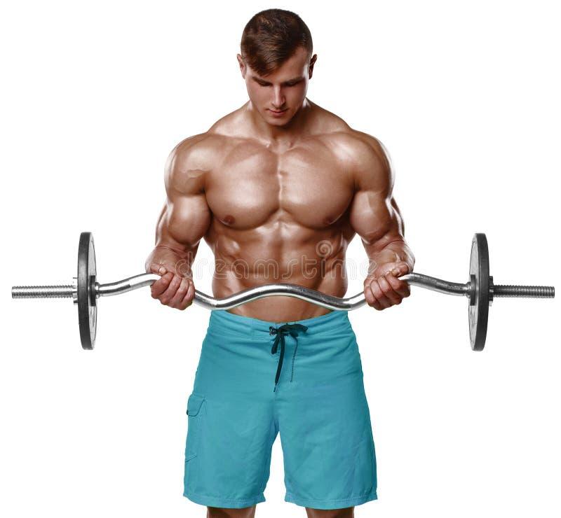 Den muskulösa mannen som utarbetar att göra, övar med skivstången på biceps, stark manlig naken torsoabs som isoleras över vit ba royaltyfri bild