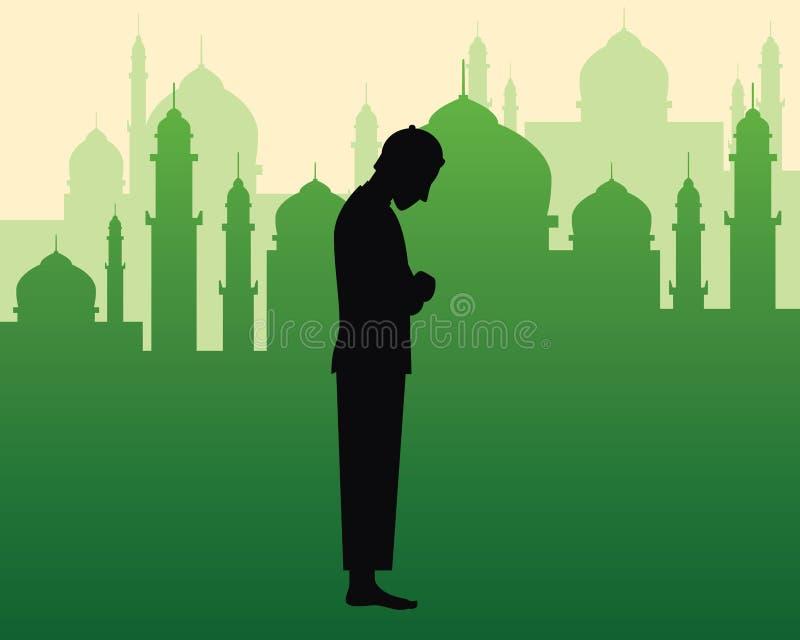 Den muslimska be sholatillustrationen med den svarta konturn av göra för man ber och gör grön konturn av moskén med kupolen stock illustrationer
