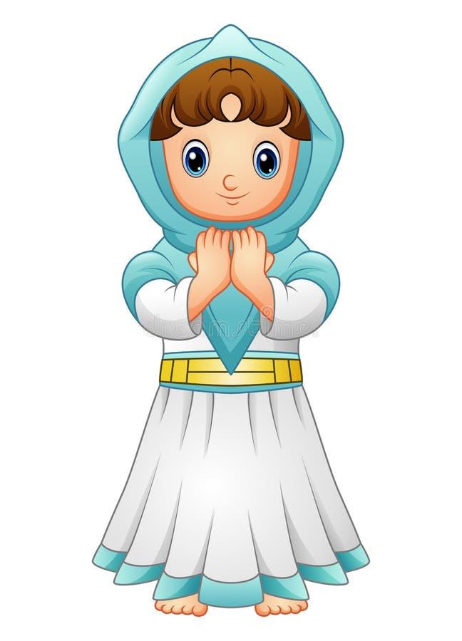 Den muslimska flickan som ber med bärande blått, skyler isolerat på vit bakgrund vektor illustrationer