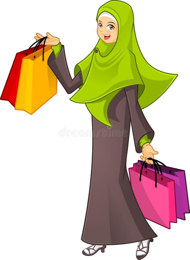Den muslimska kvinnan som rymmer en bärande gräsplan för shoppingpåse, skyler stock illustrationer