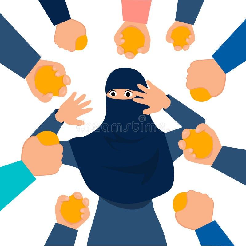 Den muslimska kvinnan, stenade Bestraffning för förräderi I plan vektor f?r minimalist stiltecknad film stock illustrationer