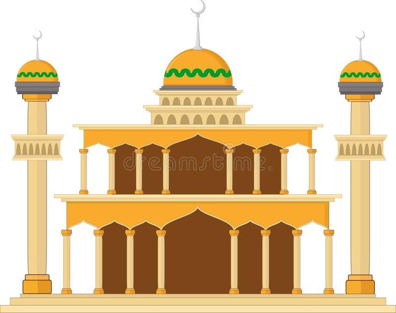 Den muslimska moskén isolerade den plana fasaden på vit bakgrund Sänka med skuggaarkitekturobjekt stock illustrationer