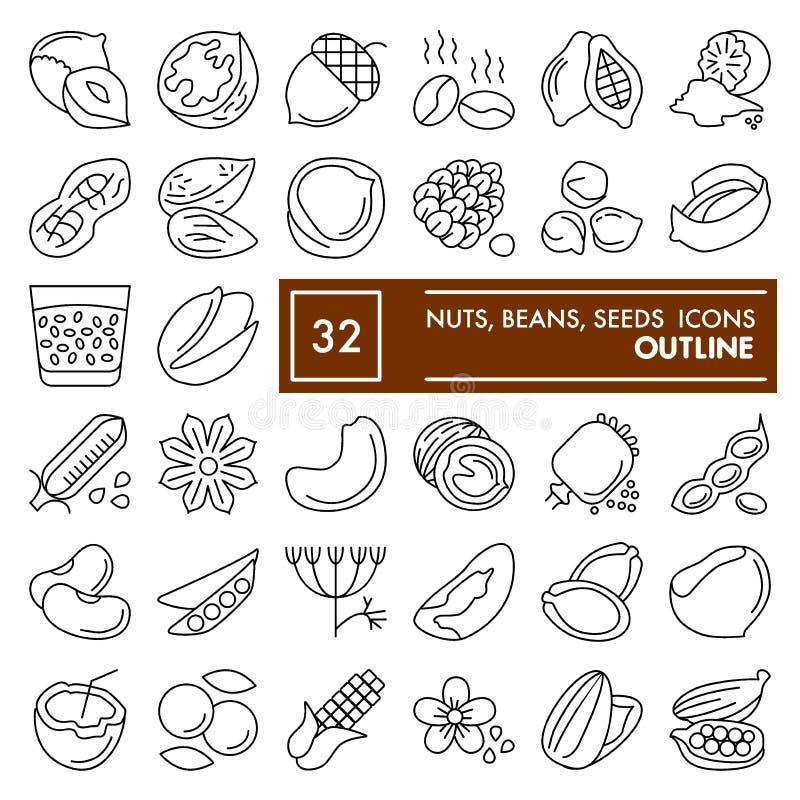 Den mutter-, böna- och frölinjen symbolsuppsättningen, matsymboler samlingen, vektor skissar, logoillustrationer, åkerbrukt tecke vektor illustrationer