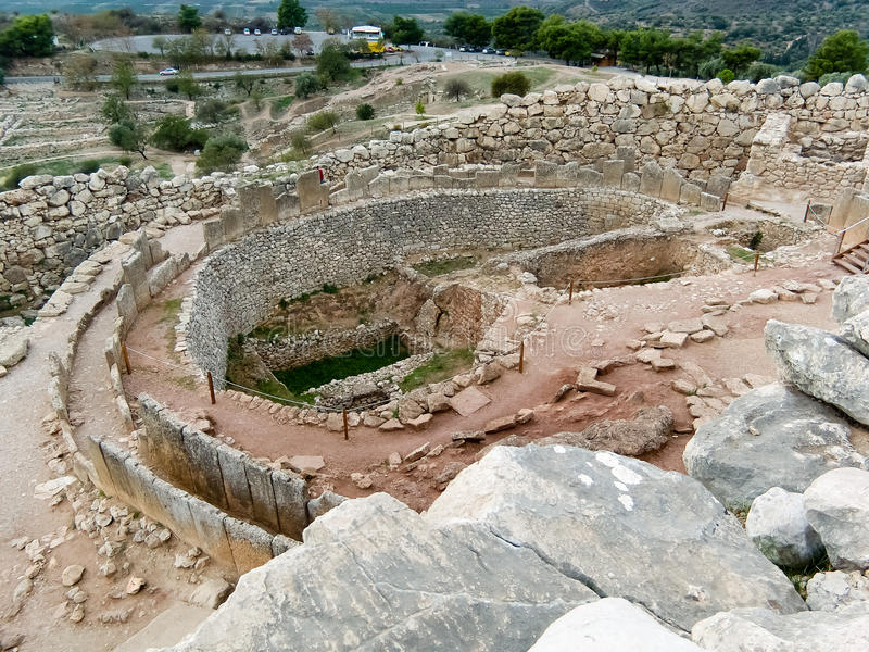 den mycenaean slotten fördärvar arkivbilder