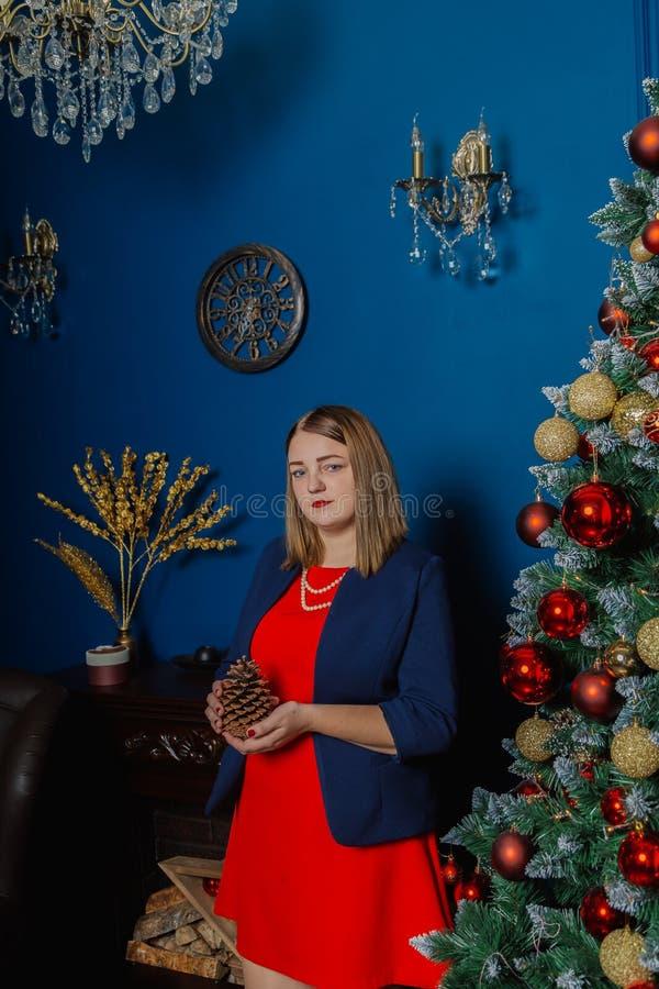 Den mycket härliga kvinnan står nära spisen i det nya årets rum arkivfoto