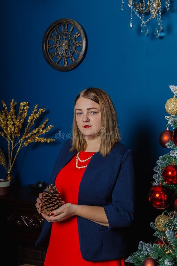 Den mycket härliga kvinnan står nära spisen i det nya årets rum royaltyfri bild