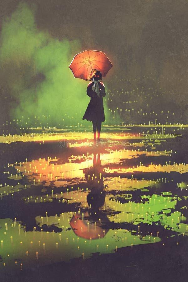 Den mystiska kvinnan rymmer paraplyanseende i en pöl stock illustrationer