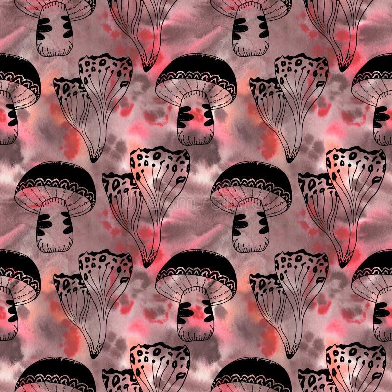 Den mystiska skogvattenfärgen plocka svamp den sömlösa modellen royaltyfri illustrationer