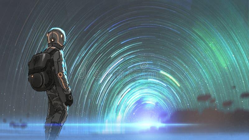 Den mystiska stjärnklara tunnelingången royaltyfri illustrationer