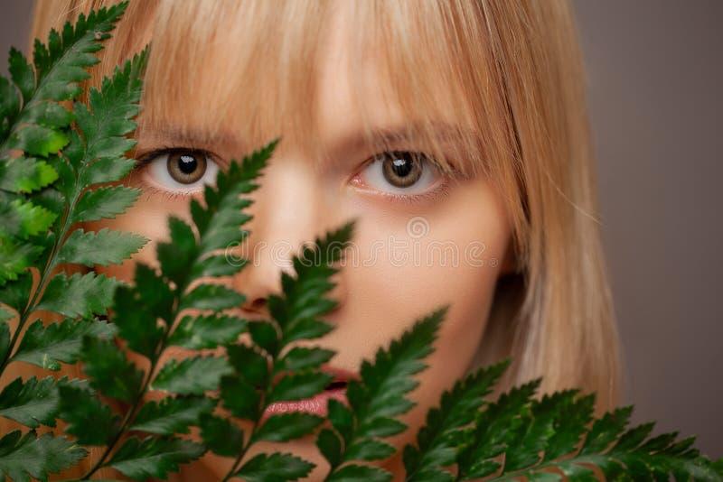 Den nära övre sikten av den härliga kvinnan, filial av en ormbunke täcker framsidan Ögonomsorg, kontaktlinser och skönhet arkivbild