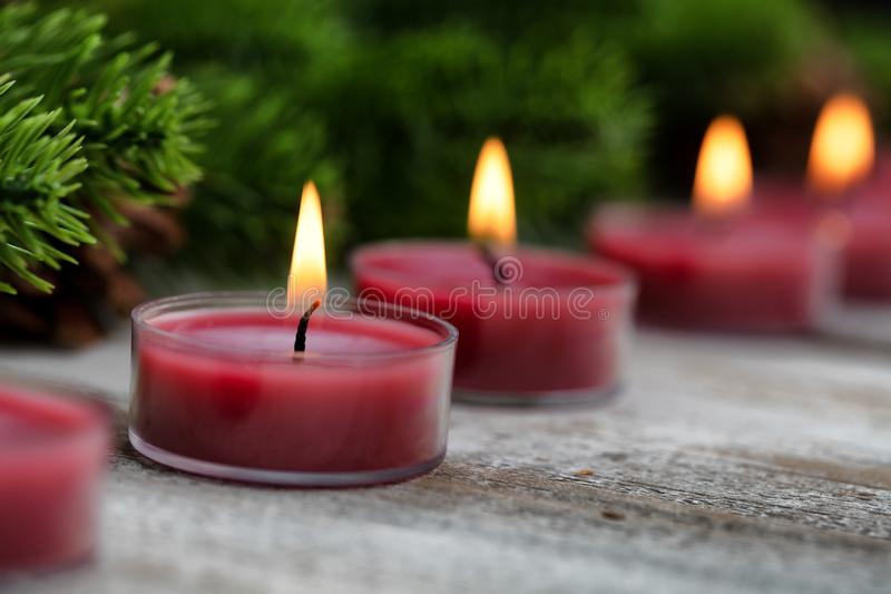 Den nära övre sikten av traditionell glödande jul semestrar stearinljus med evergreen i bakgrund royaltyfria bilder