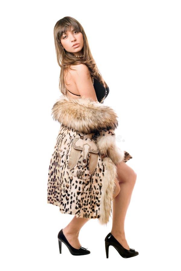 Brunetten som ha på sig leoparden, täcker royaltyfri bild