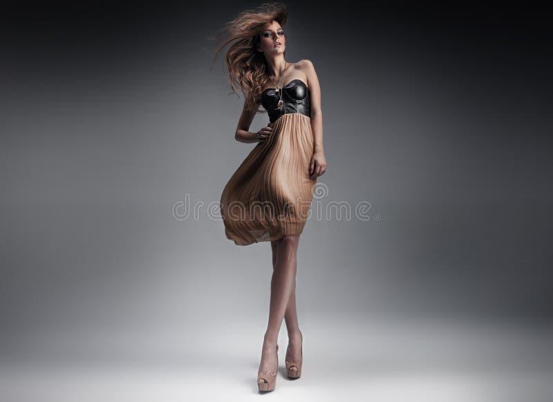 Den nätt unga ladyen i ett mode poserar royaltyfri foto