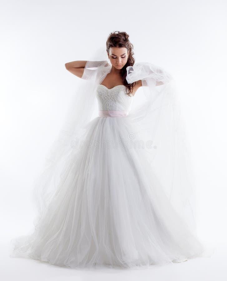 Den nätta bruden som poserar i stilfull klänning med, skyler fotografering för bildbyråer