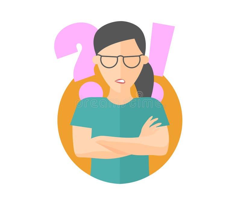 Den nätta flickan i ilskna exponeringsglas tvivlar, kränkt Plan designsymbol Kvinna med en fråga och utropstecken Enkelt redigerb vektor illustrationer