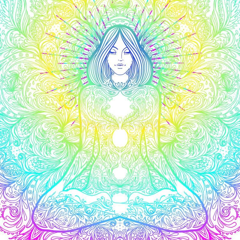 Den nätta flickan i lotusblomma poserar över utsmyckad rund mandalamodell Yog royaltyfri illustrationer