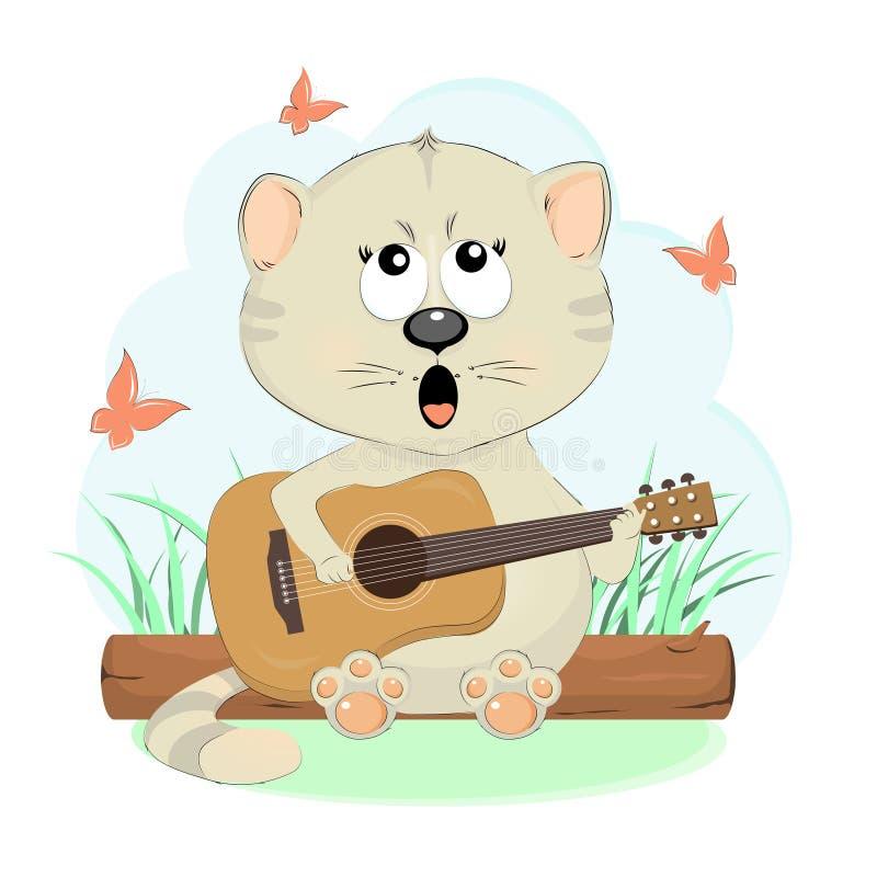 Den nätta kattungen sjunger en gitarr stock illustrationer