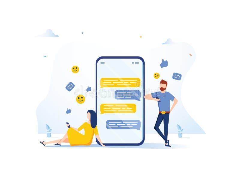 Den nätta kvinnan sitter på hennes bärbar dator och pratar med den stiliga mannen med den enorma telefonen och emoji på bakgrunde stock illustrationer
