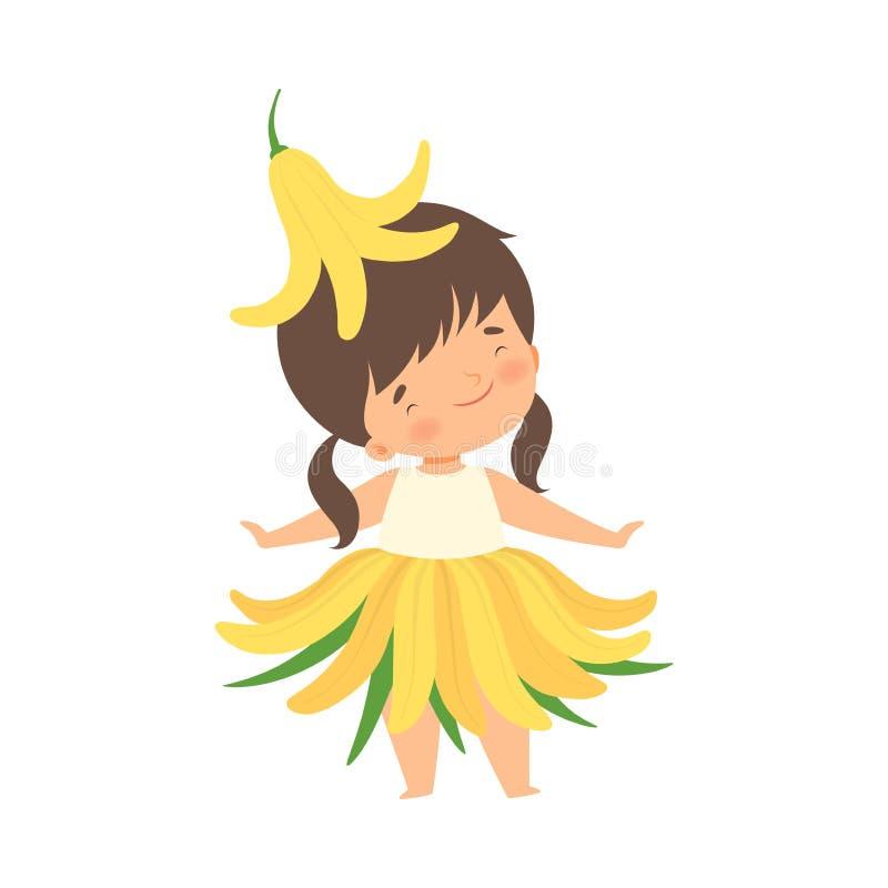 Den nätta lilla flickan som bär gula Lily Flower Costume, den förtjusande ungen i karneval, beklär vektorillustrationen stock illustrationer