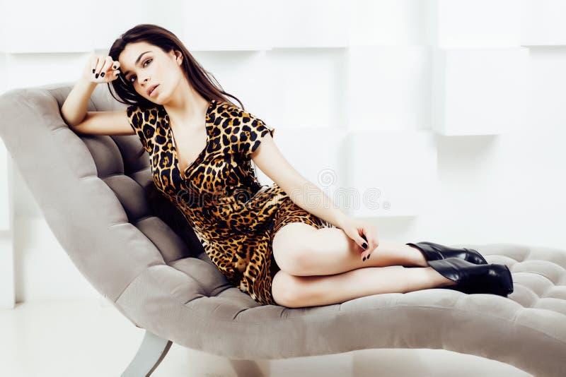 Den nätta stilfulla kvinnan i modeklänning med leopardtrycket i lyxiga rich hyr rum tillsammans inre, livsstilfolkbegrepp arkivbilder