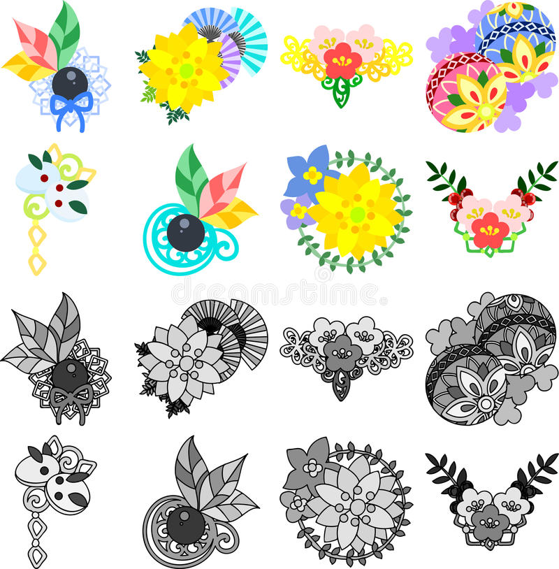 Den nätta tillbehören för japansk stil stock illustrationer