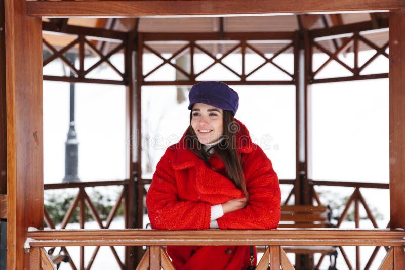 Den nätta unga kvinnan som går utomhus i snövinter, parkerar skogen fotografering för bildbyråer