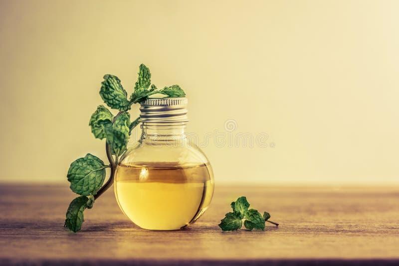 Den nödvändiga oljan för arom från pepparmint i flaskan på fliken royaltyfria bilder