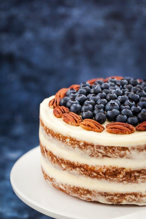 Den nakna morotkakan dekorerade med det nya blåbäret och pecannöten royaltyfri bild
