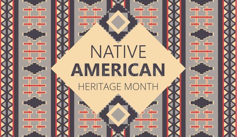 Den nationella amerikanska kulturarvsmånaden är organiserad i USA i november Indikatorernas traditionella geometriska ornament vi vektor illustrationer