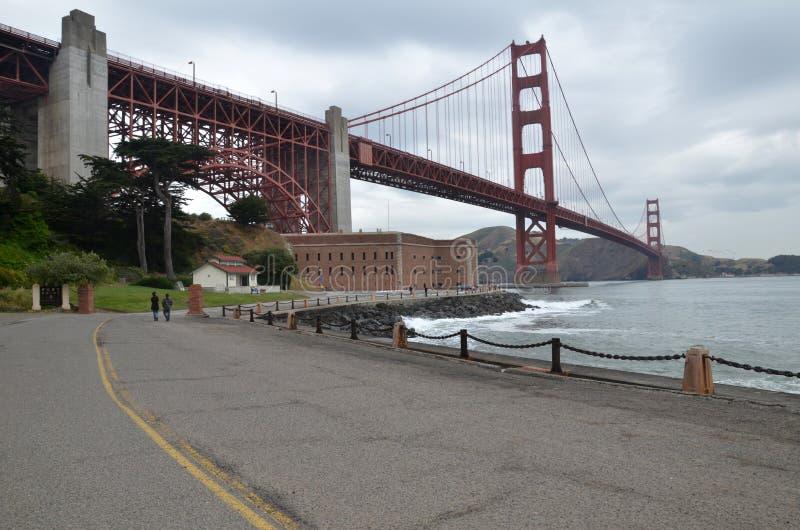 Den nationella historiska platsen för Golden gate bridge och fortpunkt - San Francisco, Kalifornien, USA arkivfoton