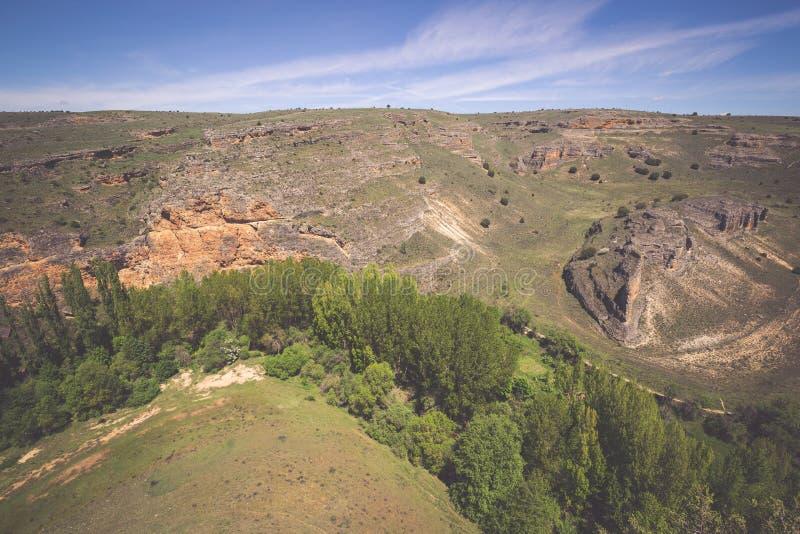 Den naturliga Duraton kanjonen parkerar, i Sepulveda, Spanien arkivfoto