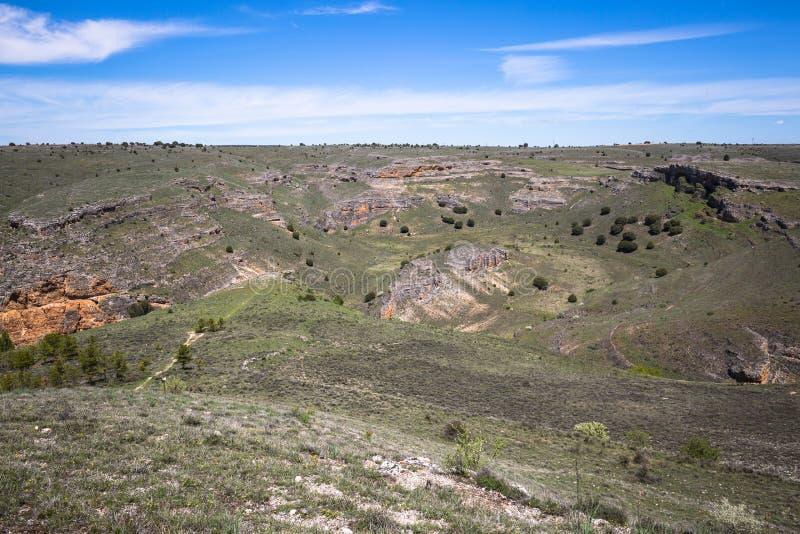Den naturliga Duraton kanjonen parkerar, i Sepulveda, Spanien arkivbild