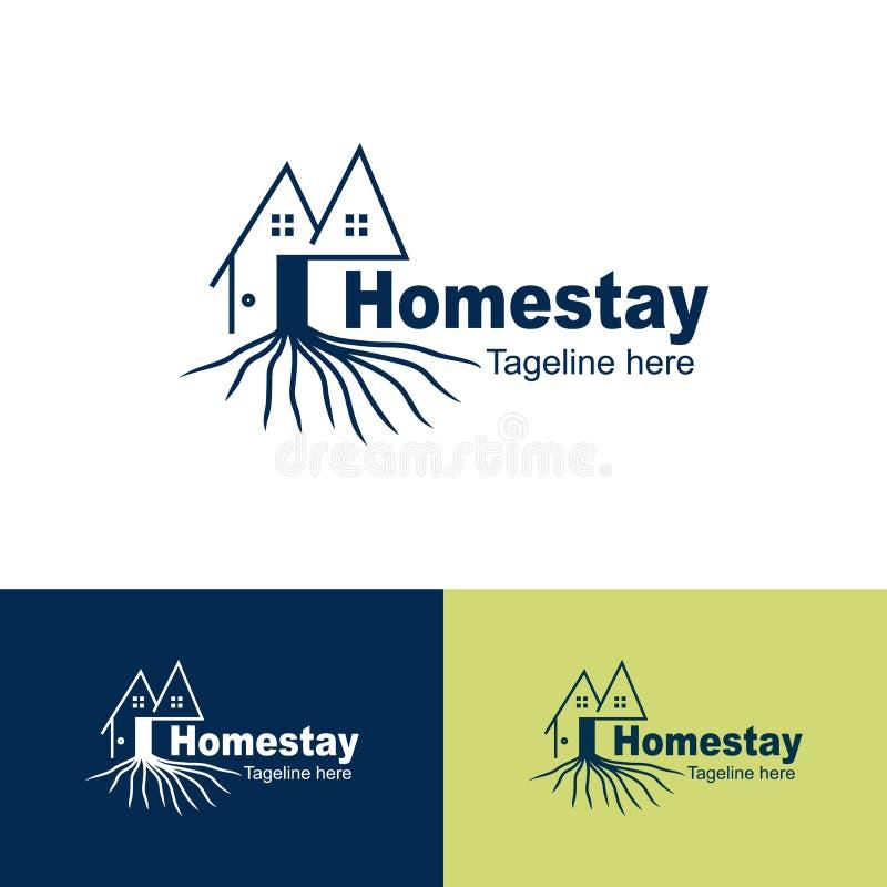 Den naturliga Homestaylogoen, rotar av trädhomestayen, enkel bakgrund för logosymbolshomestayen - vektor vektor illustrationer