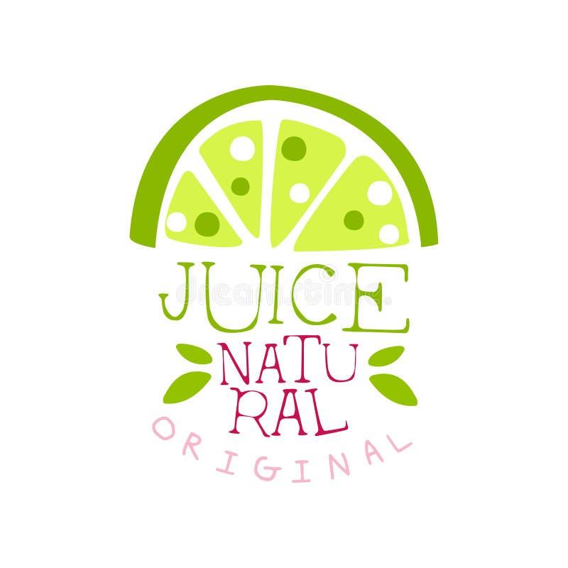 Den naturliga original- fruktsaftlogomallen, kalkar den nya drinketiketten, ecoproduktemblemet, menybeståndsdelen, den drog färgr stock illustrationer