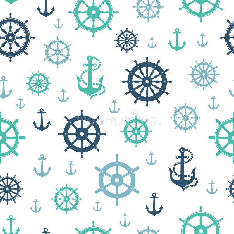 Den nautiska sömlösa modellen seglar det Repeatable styrninghjulet vektor illustrationer