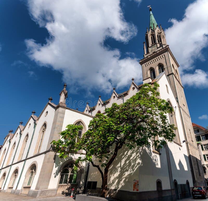 Den neo gotic stilSt Lawrence kyrkan i St Gallen royaltyfri fotografi