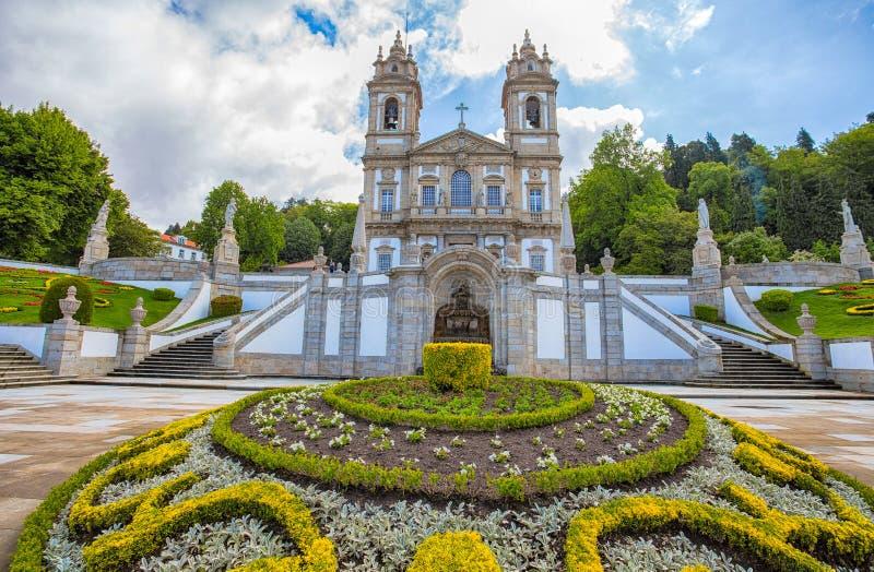 Den neoclassical basilikan av Bom Jesus gör Monte i Braga, Portugal royaltyfri bild