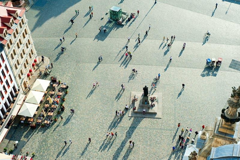 Den Neumarkt fyrkanten, Dresden arkivfoto
