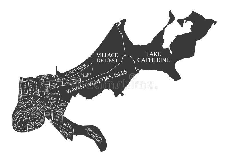 Den New Orleans Louisiana stadsöversikten USA märkte den svarta illustrationen royaltyfri illustrationer