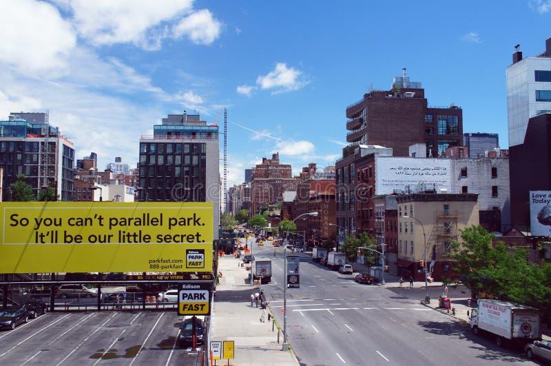 Den New York City sikten från hög linje parkerar, USA arkivbilder