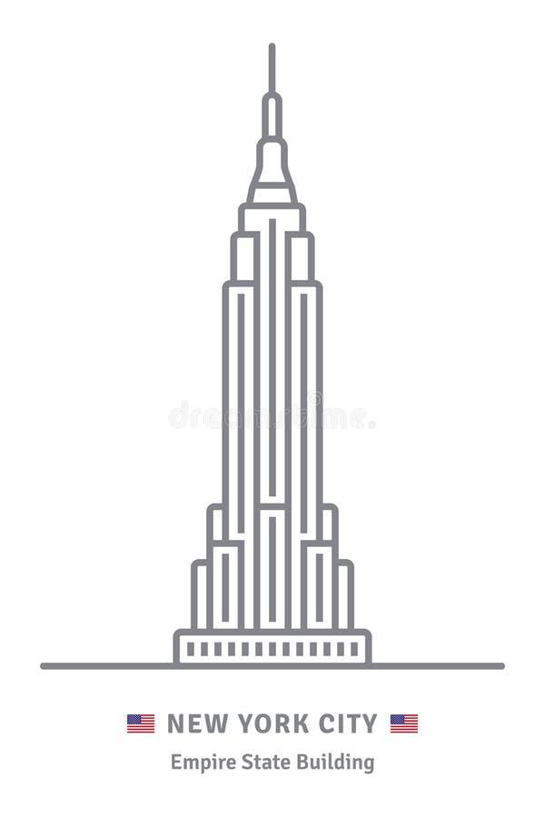 Den New York City symbolen med byggnad för väldetillståndet och USA sjunker vektor illustrationer