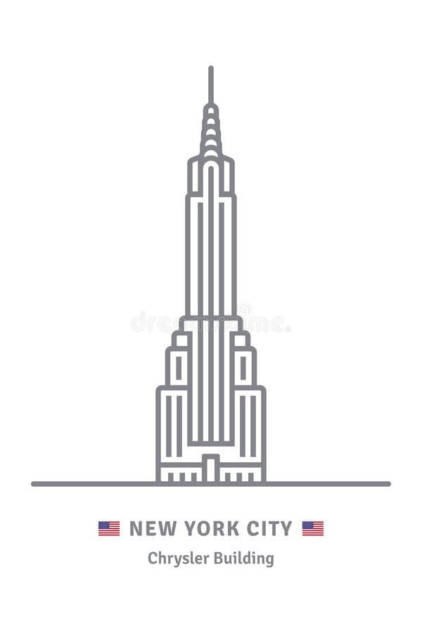 Den New York City symbolen med Chrysler byggnad och USA sjunker stock illustrationer