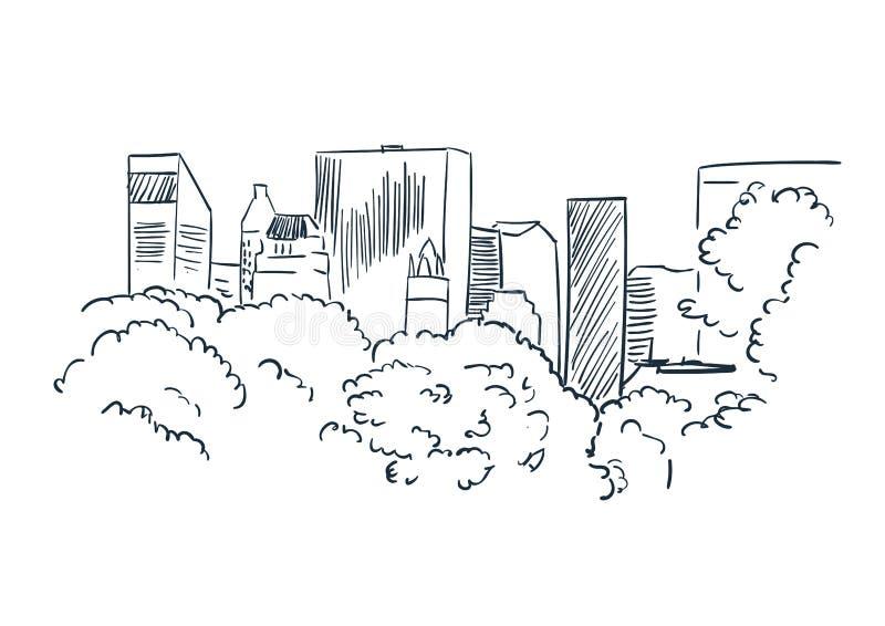 Den New York City vektorn skissar landskaplinjen illustrationhorisont vektor illustrationer
